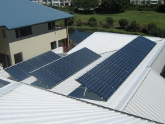 REC solar panels installed on tilt framing